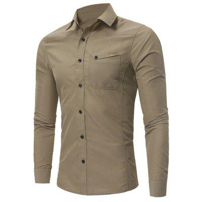 Turndown Collar Slim Fit Pocket Long Sleeve Shirt