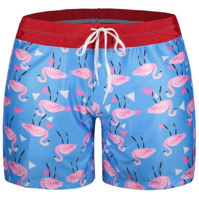 Flamingo Print Patch Swim Trunks