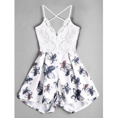 Lace Panel Floral Backless Romper