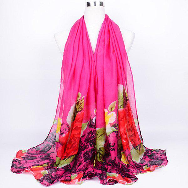 Voile Wrap Scarf with Flower Leaf Print