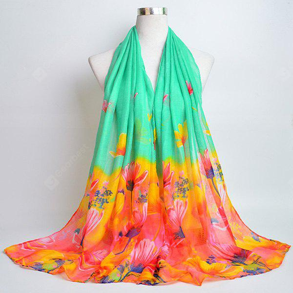 Voile Wrap Scarf with Flower Painting Print