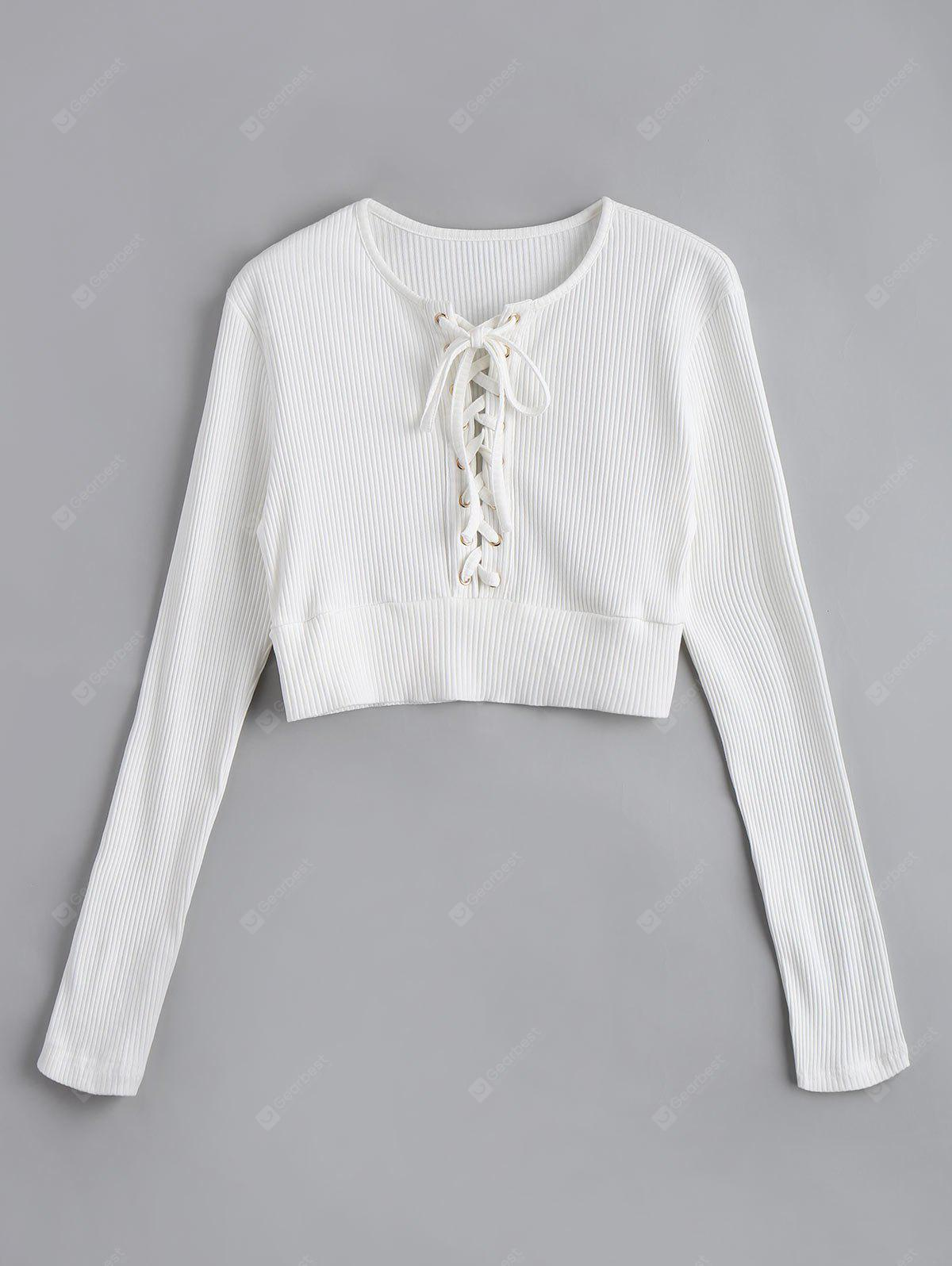 Long  Sleeve Lace Up Cropped Sweater