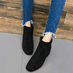 Almond Toe Faux Suede Ankle Boots - BLACK
