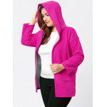 Plus Size Hit Color Long Hooded Coat - ROSE RED