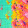 Voile Wrap Scarf with Flower Painting Print - MINT