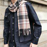 Plaid Print Cashmere-like Acrylic Yarns Scarf - LIGHT COFFEE