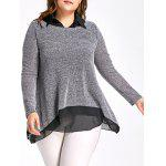 Plus Size Mesh Shirt Collar Two Piece Top - BLACK AND GREY