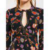 Floral Cut Out Flare Sleeve Mini Dress - BLACK