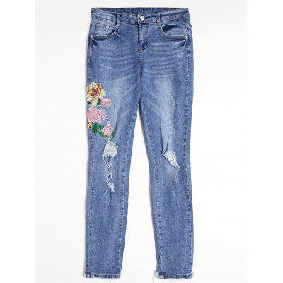 Buy BLUE L Floral Embroidered Distressed Frayed Hem Jeans for $35.31 in GearBest store