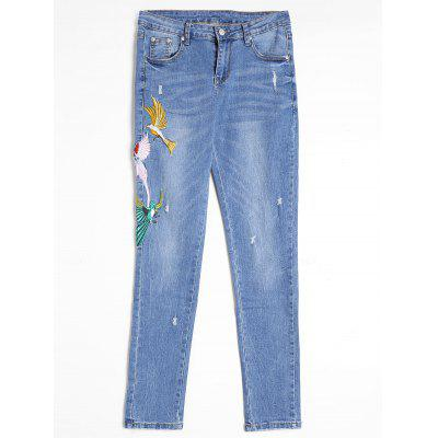 Bird Embroidered Distressed Jeans