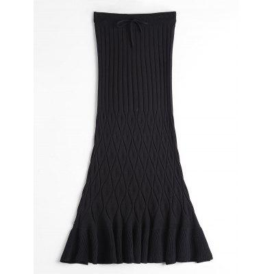 Buy BLACK High Waisted Ruffle Hem Knitted Skirt for $22.96 in GearBest store