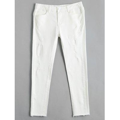 Buy WHITE 30 Ripped High Waisted Skinny Pencil Jeans for $28.05 in GearBest store
