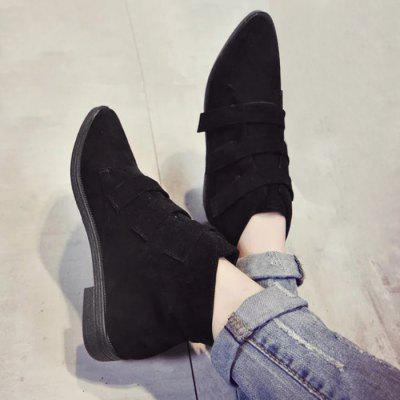 Buy BLACK 39 Pointed Toe Faux Suede Ankle Boots for $25.83 in GearBest store