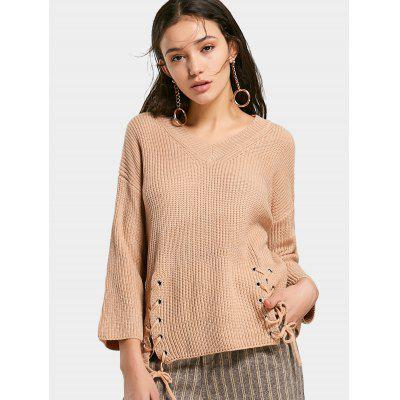 Buy KHAKI V Neck Lace Up Chunky Sweater for $27.68 in GearBest store
