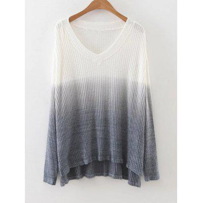 Buy GRAY L Ombre High Low Side Slit Knitwear for $27.32 in GearBest store