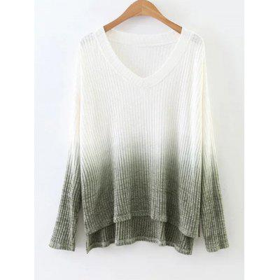 Buy BLACKISH GREEN S Ombre High Low Side Slit Knitwear for $27.32 in GearBest store
