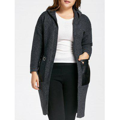 Plus Size Chunky Pocket Long Hooded Sweater Coat