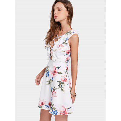 Floral Print Ruffled Criss Cross Plunge DressWomens Dresses<br>Floral Print Ruffled Criss Cross Plunge Dress<br><br>Dresses Length: Mini<br>Material: Polyester<br>Neckline: Plunging Neck<br>Occasion: Casual , Going Out<br>Package Contents: 1 x Dress<br>Pattern Type: Floral<br>Season: Summer<br>Silhouette: A-Line<br>Sleeve Length: Sleeveless<br>Style: Brief<br>Weight: 0.2800kg<br>With Belt: No
