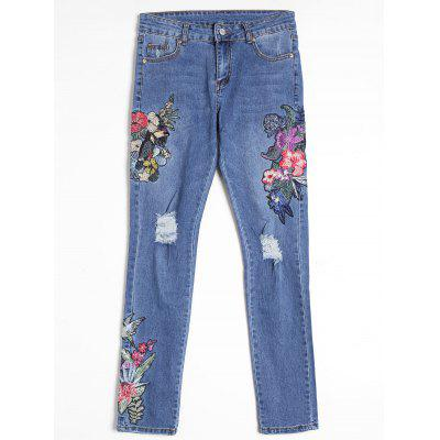 Buy BLUE M Flower Embroidered Distressed Straight Jeans for $37.09 in GearBest store