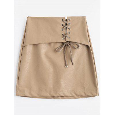 High Waisted Lace Up PU Mini Skirt
