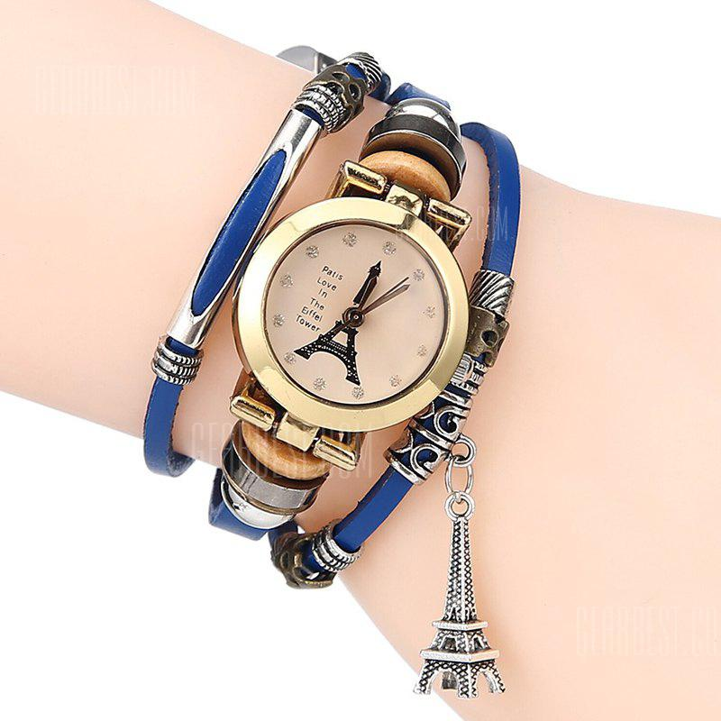 Rhinestone Effiel Tower Charm Bracelet Watch
