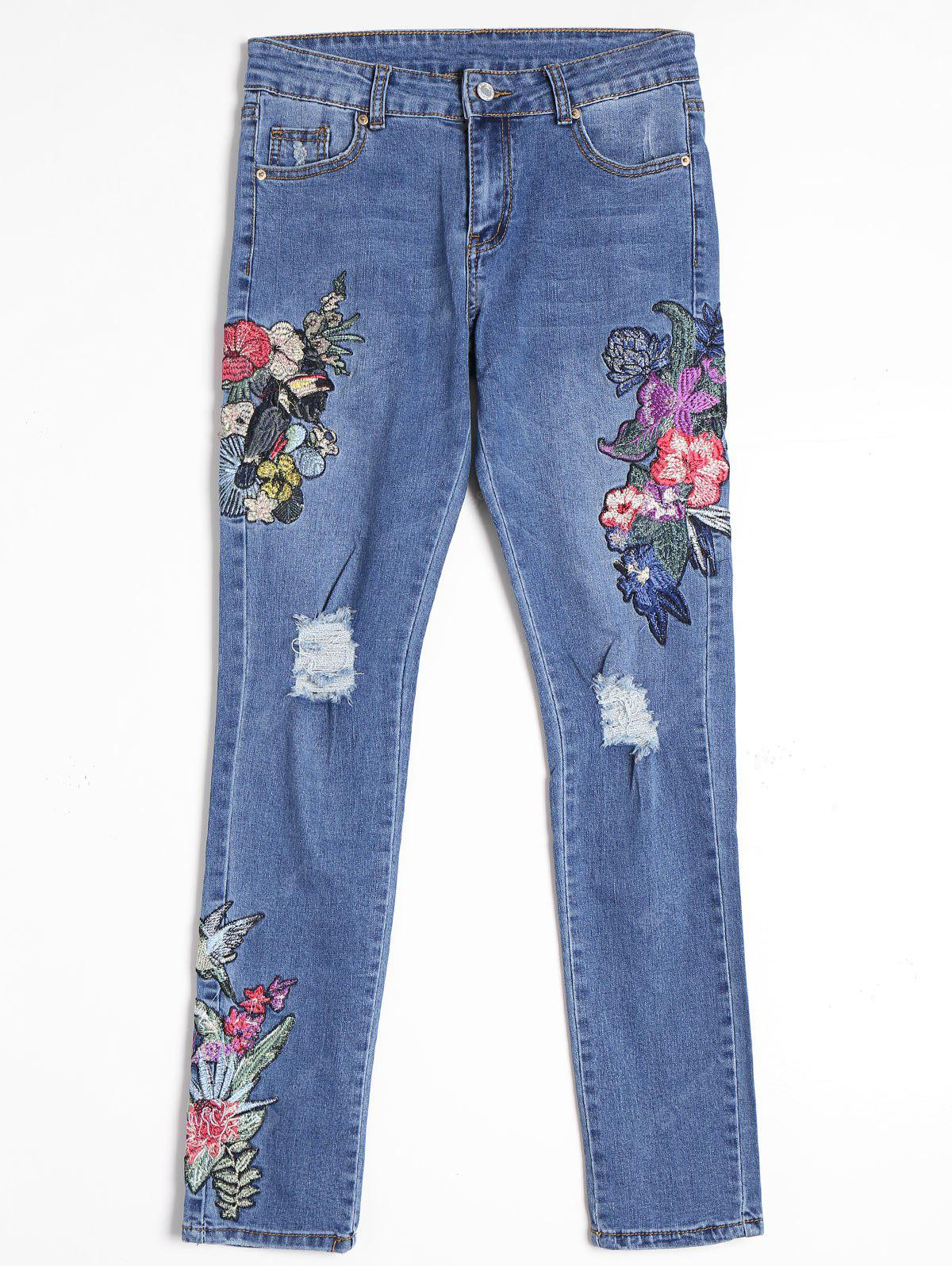 BLUE S Flower Embroidered Distressed Straight Jeans