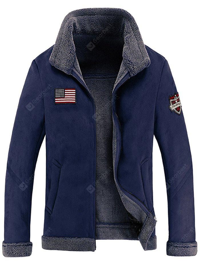 Patch Design Faux Suede Fleece Lined Jacket