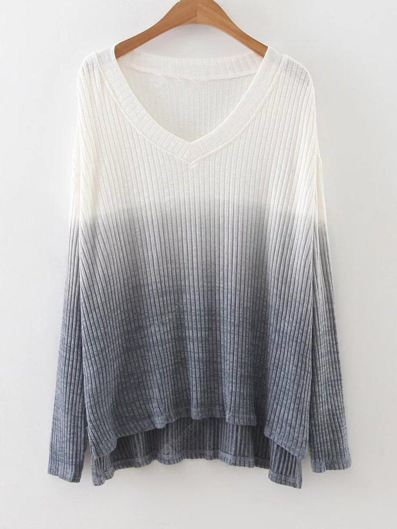 GRAY S Ombre High Low Side Slit Knitwear