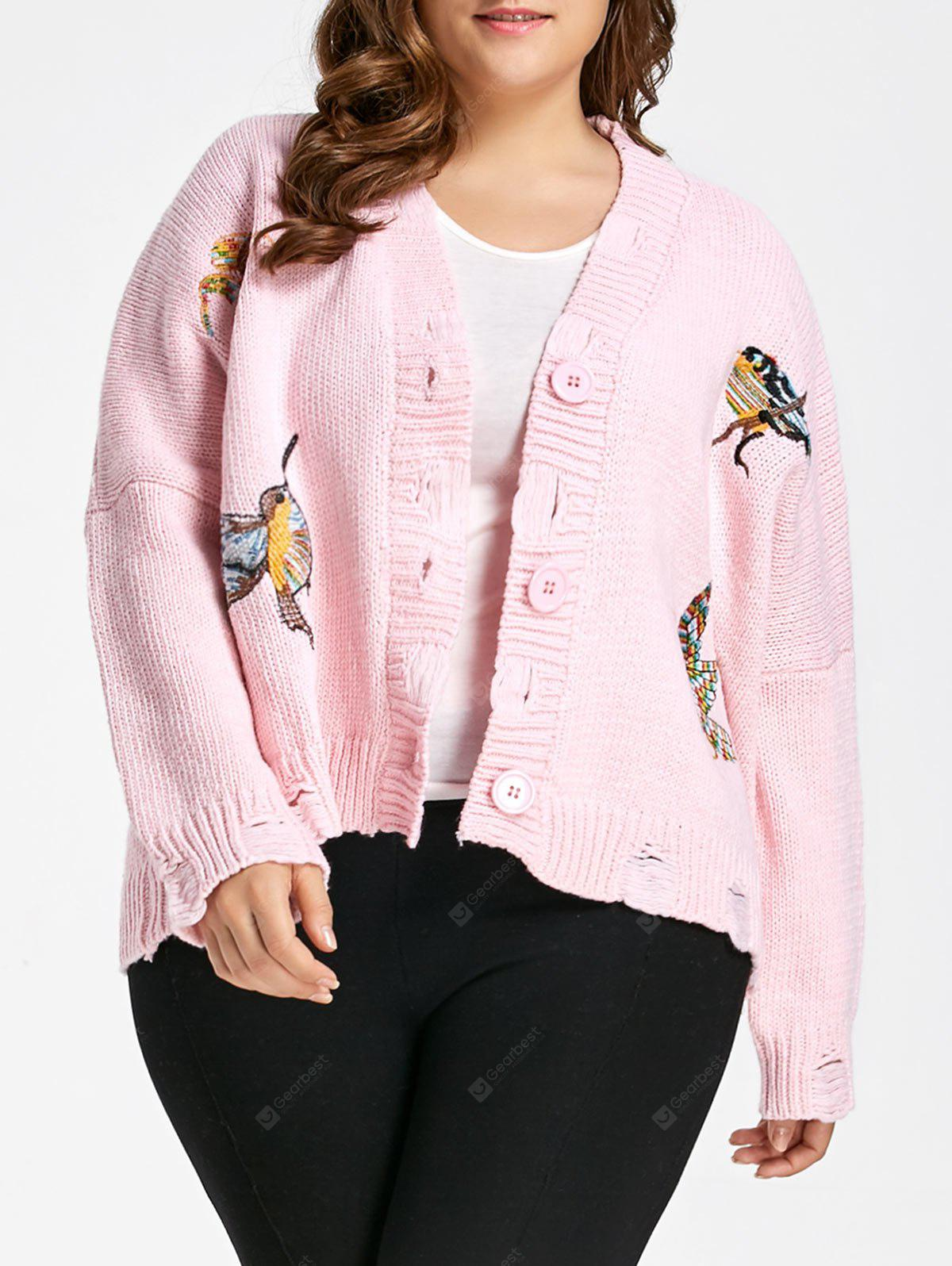Plus Size Bird Embroidered Ripped V Neck Cardigan