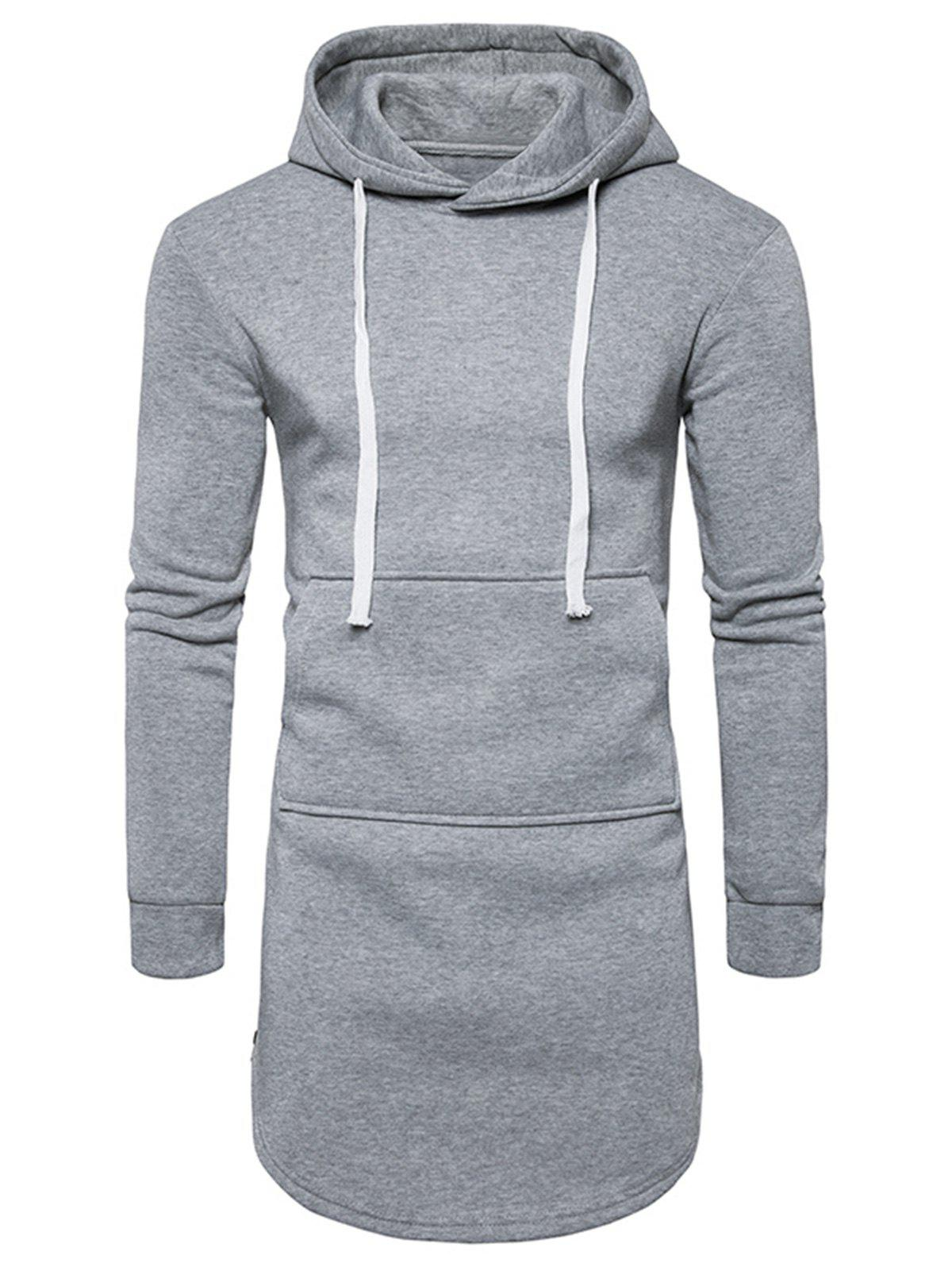 Fleece Curve Bottom Side Zip Longline Hoodie
