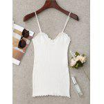 Knitting Ruffled Hem Tank Top - BRANCO