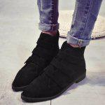 Buy Pointed Toe Faux Suede Ankle Boots 39 BLACK