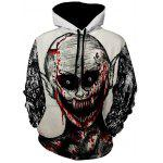 Kangaroo Pocket Devil Printed Halloween Hoodie - WHITE