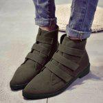 Buy Pointed Toe Faux Suede Ankle Boots 37 ARMY GREEN