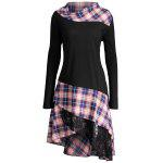 Lace Plaid Panel Plus Size Long Top - BLACK