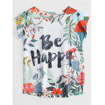 Be Happy Floral Printed Tee - MULTI