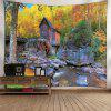Buy Wooden House Forest Pattern Waterproof Wall Hanging Tapestry COLORMIX