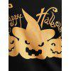 Plus Size Happy Halloween Pumpkin Sweatshirt - BLACK