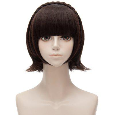 Short Full Bang Straight Persona5 Makoto Niijima Cosplay Anime Wig