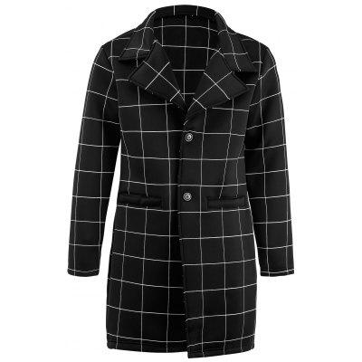 Cappotto da turndown Cappotto Longline Checked Single Breasted