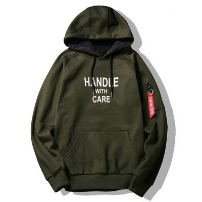 Buy ARMY GREEN 3XL Handle With Care Graphic Flocking Hoodie for $27.71 in GearBest store