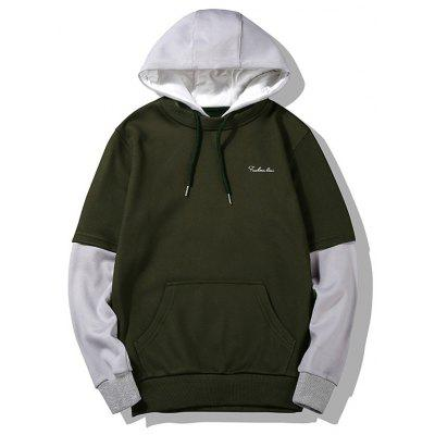 Buy ARMY GREEN L Two Tone Flocking Hoodie for $27.85 in GearBest store