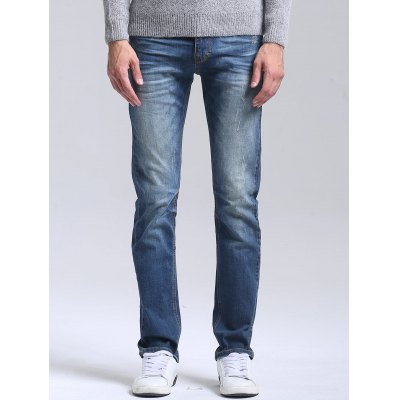 Buy BLUE 38 Slim Faded Straight Jeans for $40.35 in GearBest store
