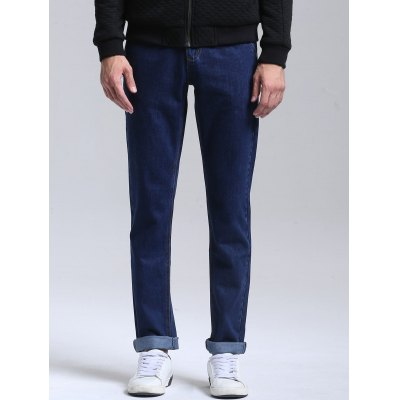 Buy DEEP BLUE Zipper Fly Men Straight Jeans for $42.91 in GearBest store