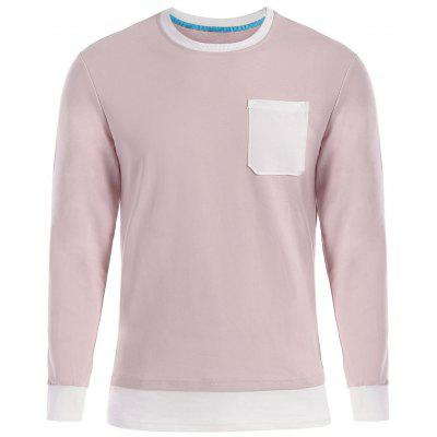 Buy SHALLOW PINK Contrast Trim Front Pocket Long Sleeve T-shirt for $21.76 in GearBest store