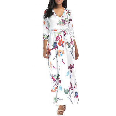 Buy WHITE XL Flower Print Surplice Maxi Dress for $26.71 in GearBest store