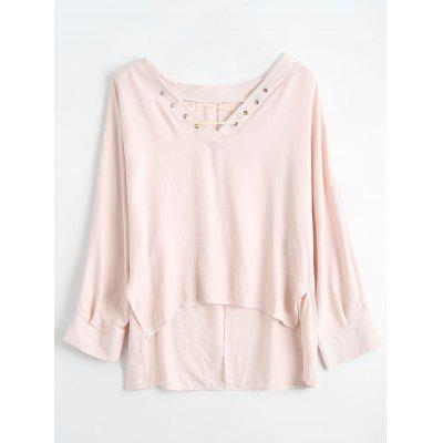 Lace Up High Low Blouse