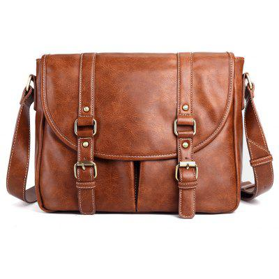 Double Buckle Straps PU Leather Messenger Bag