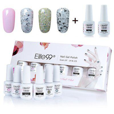 6Pcs Polish UV LED Soak Off Elite99 Gel Nail Set with Sequins