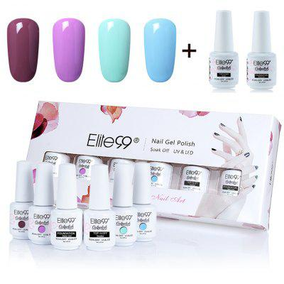 6Pcs UV LED Soak Off Elite99 Gel Polish Lacquer Nail Set